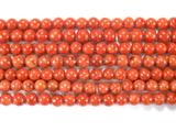 Нить бусин из коралла яблочного, облагороженного, шар гладкий 6 мм