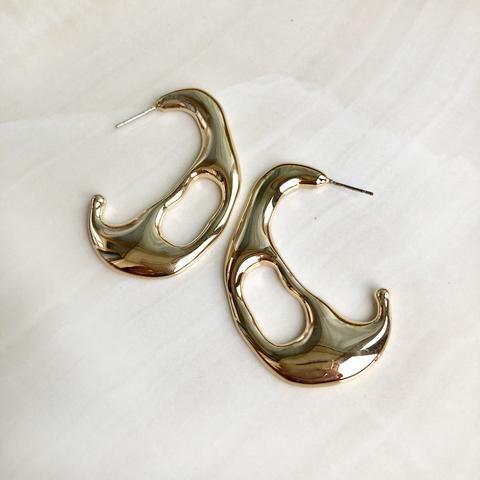 Серьги Сюрреалистической формы, позолота