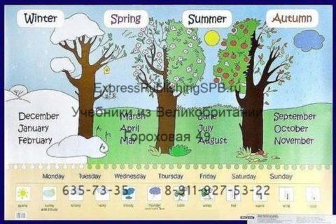 Времена года, месяцы, дни недели. Seasons, months, days of week. Наглядное пособие для начальной школы. .