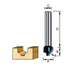 Фреза пазовая фасонная (каплевидная) 27*32*15*8 мм; R=8 мм