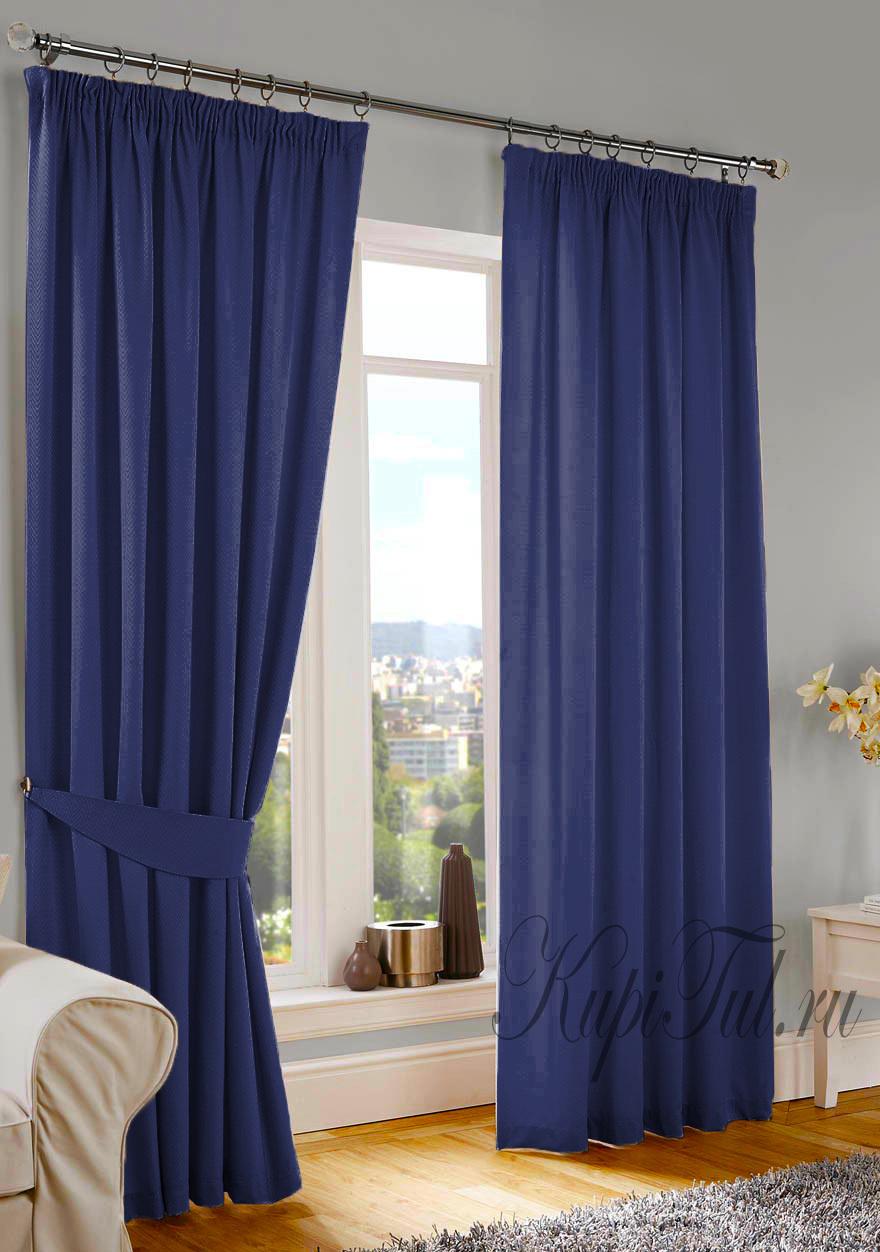 Длинные шторы. Kadife (синий). Стриженный бархат.