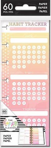 Внутренний блок с трекерами -Happy Planner Mini Half Sheet Note Paper - Habit Tracker-60л
