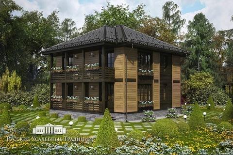 """Проект двухэтажного дома """"Пикабия"""" 186 кв.м. с верандой и балконом"""