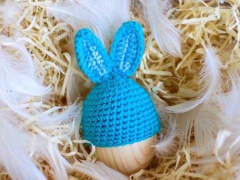 Великодній декор. Шапочка на крашанки - Кролик бірюзовий з блакитними вставками.