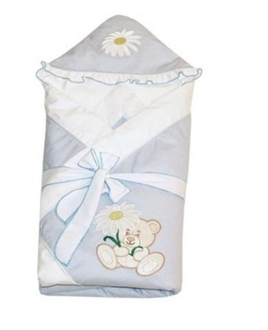 Конверт-одеяло для новорожденных на выписку Ромашка голубой