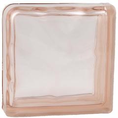 Завершающий стеклоблок розовый окраска в массе Vitrablok 19x19x8