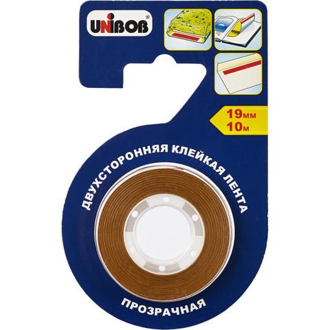 Клейкая лента дусторонняя д/ф бумаги и пленки Unibob 19мм х 10м прозрачная