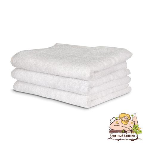 Белое махровое полотенце, плотность 700 гр/м.кв.