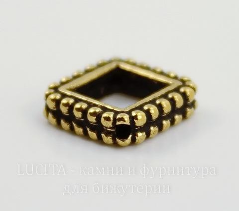 "Рамка для бусины ромб TierraCast ""Бусинки"" (цвет-античное золото) 14х14х3 мм"