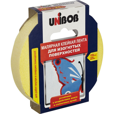 Клейкая лента малярная для изогнутых поверхностей Unibob 19мм х 25м желтая