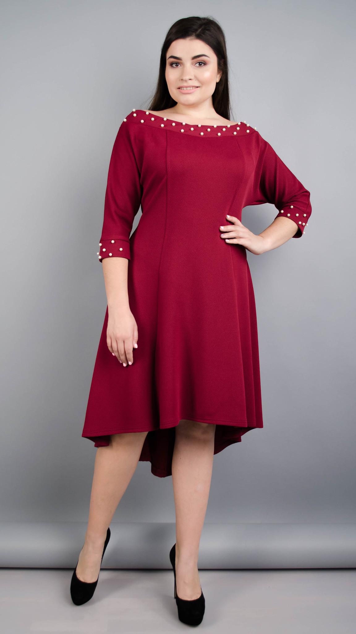 Лейла. Жіноча святкова сукня великих розмірів. Бордо.
