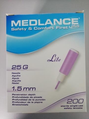 7643 Ланцет автоматический Medlance plus Lite 1,5 мм 25, для капиллярного забора крови, 200 штук сиреневые /HTL-STREFA S.A., Польша/