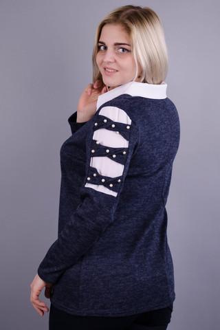 Іріда. Святкова кофтинка великих розмірів для жінок. Синій.