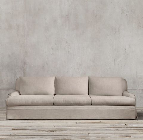 Belgian Classic Roll Arm Slipcovered Three-Seat-Cushion Sofa