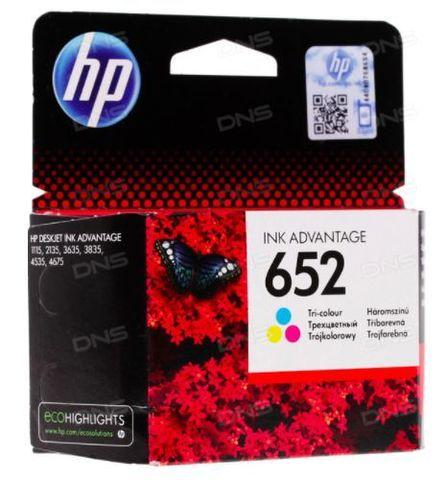 Картридж цветной HP 652 для Deskjet Ink Advantage 1115/2135/3635/4535/3835/4675. Ресурс 200 стр (F6V24AE)