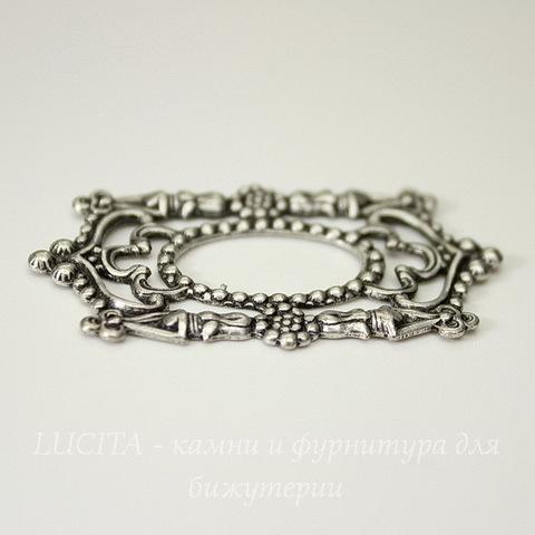 Винтажный декоративный элемент - рамка 45х26 мм (оксид серебра)