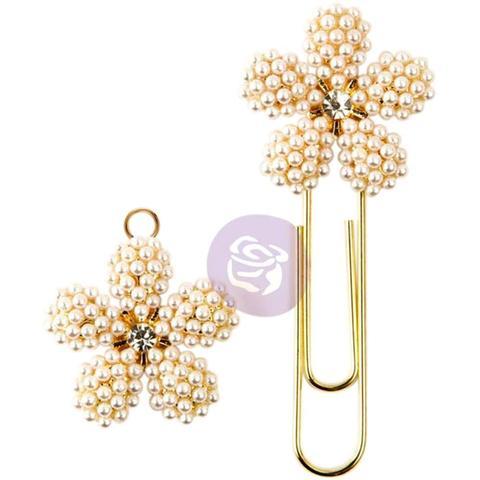 Брелок и закладка  для ежедневников Prima Traveler's Journal Decorative Clip & Charm Set- Pearl & Gold Flowers W/Rhinestone Middle -2шт