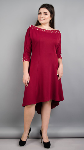 Лейла. Женское праздничное платье больших размеров. Бордо.