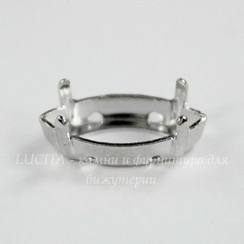 4228/S Сеттинг - основа Сваровски для страза Navette 15х7 мм (цвет - античное серебро)