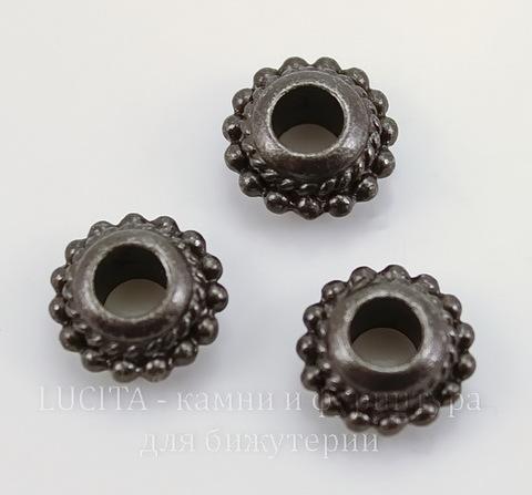 """Бусина - рондель TierraCast """"Твист"""" 11х6 мм (цвет-черный никель)"""