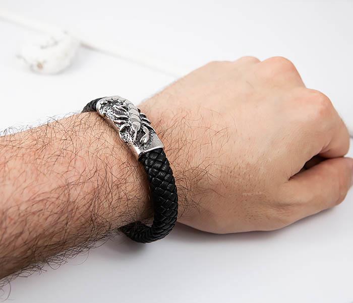 BM512 Мужской браслет из кожи и стали со скорпионом (21 см) фото 07