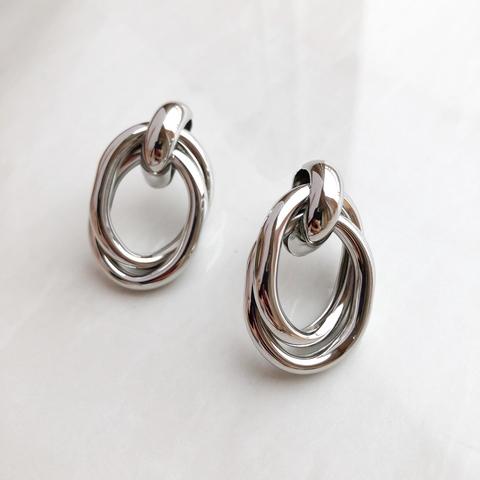 Серьги Переплетение в виде овала, серебряный цвет