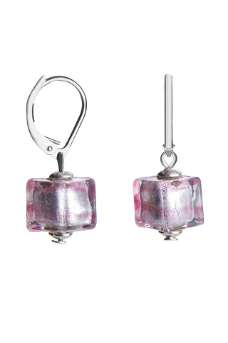 Серьги Perla Piccolo Cubo розовые