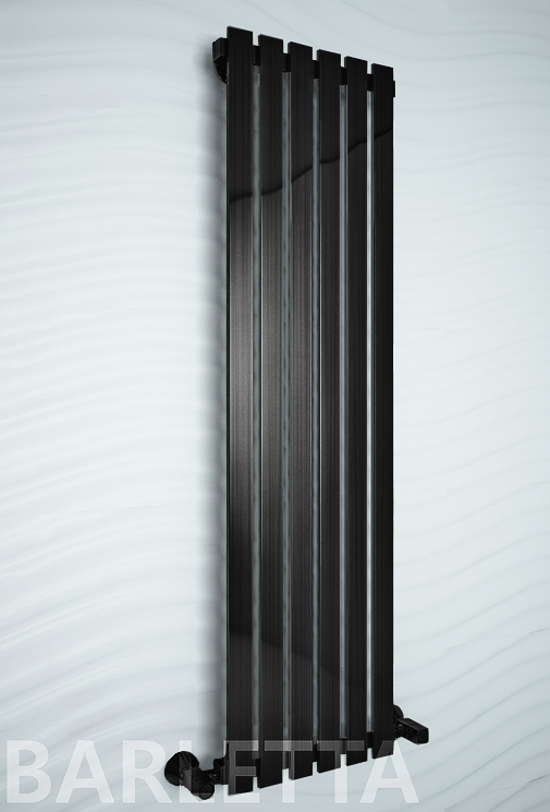 Barletta Black - черный дизайн полотенцесушитель с прямоугольными вертикалями.