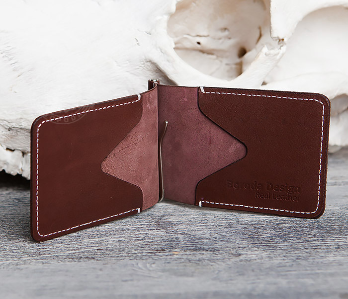 WL284-3 Мужской кожаный зажим для купюр ручной работы фото 04