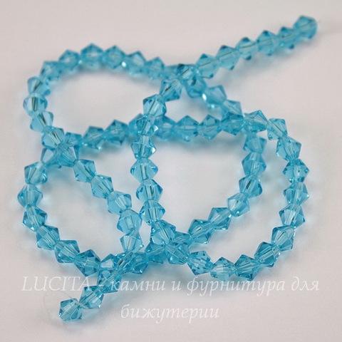 Бусина стеклянная, биконус, цвет - голубой, 4 мм, нить