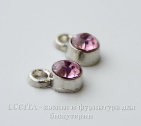 Подвеска маленькая с розовым фианитом (цвет - античное серебро) 8х5 мм