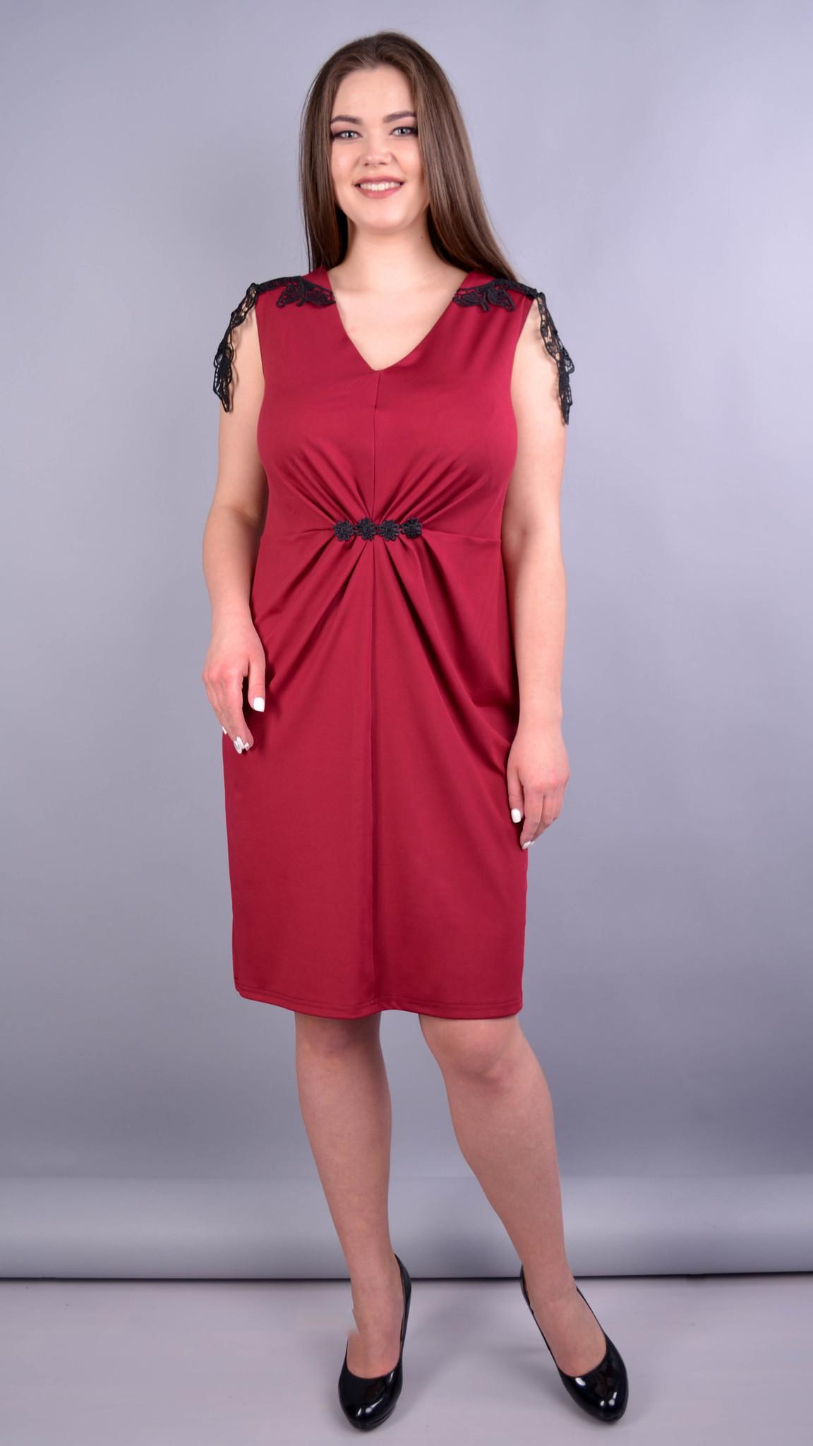 Ельміра. Стильна сукня для жінок плюс сайз. Бордо.