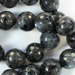 Бусина Лабрадорит Норвежский (прессов), шарик с огранкой, цвет - темный серый, 10 мм, нить
