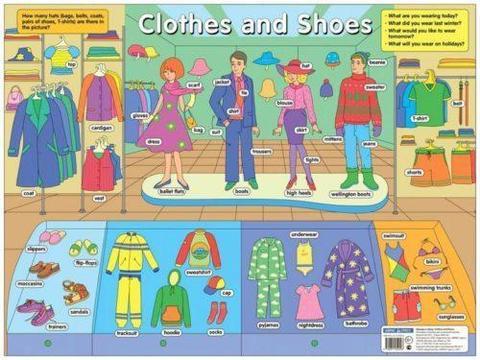 Одежда и обувь. Clothes and Shoes. Наглядное пособие по английскому языку