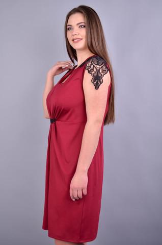 Эльмира. Стильное платье для женщин плюс сайз. Бордо.
