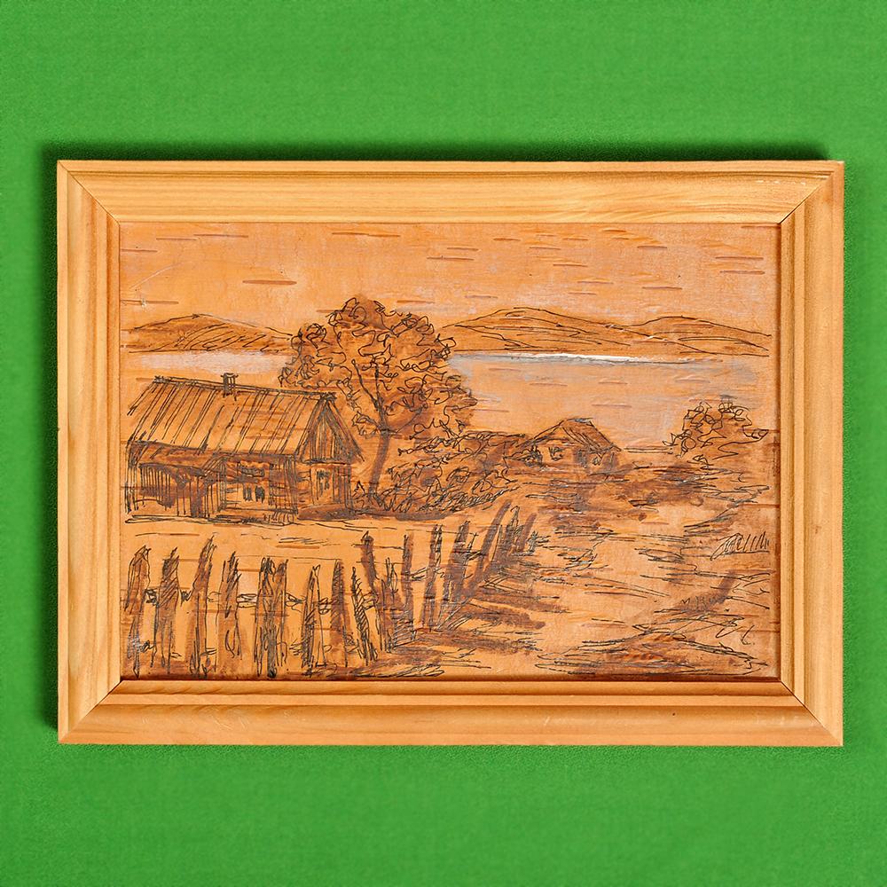 Картина на бересте Байкальский пейзаж 5