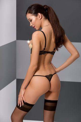 Эротический комплект белья (открытый бюст + стринги) Valery черного цвета, украшен стреп-лентами фото
