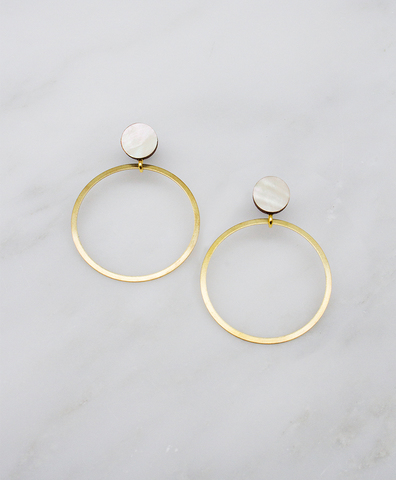 Серьги Dot Hoop Studs Mother of Pearl