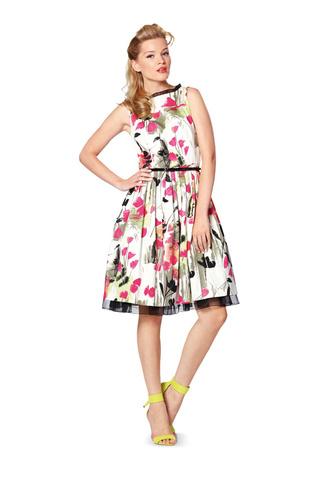 Выкройка Burda (Бурда) 7054 — Платье с плиссированной юбкой, Топ
