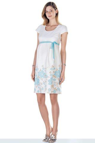 Платье для беременных 09442 белый/голубой