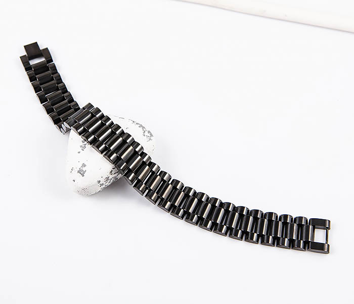 BM556 Широкий стальной браслет черного цвета фото 02