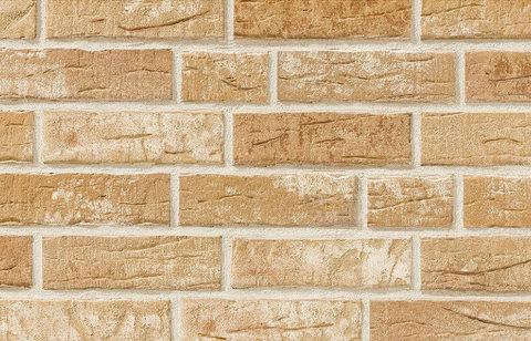 Stroeher, фасадная плитка под кирпич, цвет 371 silberbeige, серия Steinlinge, состаренная поверхность, ручная формовка, 240x71x14