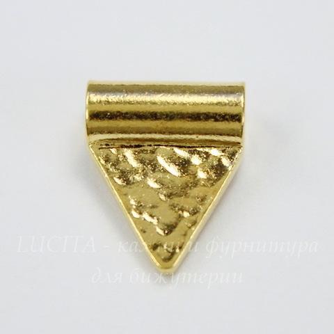 "Бусина TierraCast ""Hammered flag"" 13х10 мм (цвет-золото)"