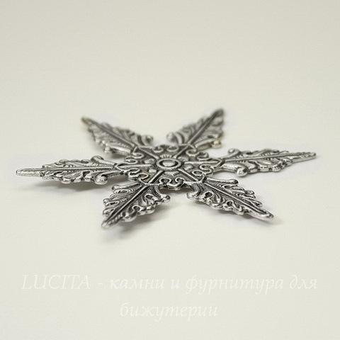 Винтажный декоративный элемент - штамп 48х42 мм (оксид серебра)