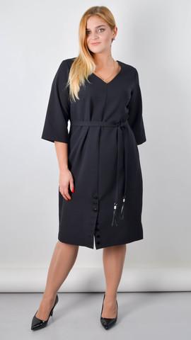 Оксана. Базовое платье большого размера. Черный.