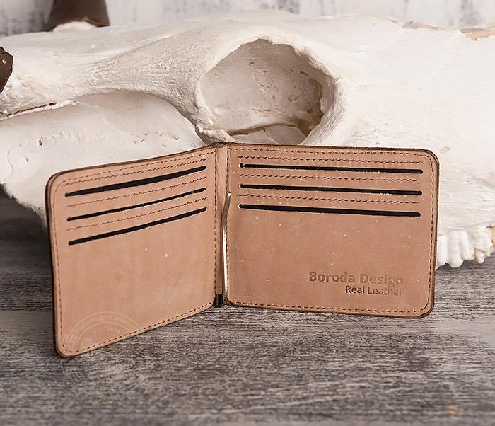 WB157 Зажим для купюр из яркой кожи, ручная работа, «Boroda Design» фото 03