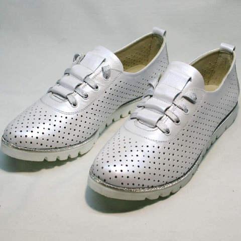 Летние туфли кроссовки белые. Женские сникерсы туфли с перфорацией Mi Lord WP