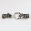 """Замок для шнура 10,5 мм из 3х частей """"Змея"""", 74х25 мм (цвет - античное серебро)"""