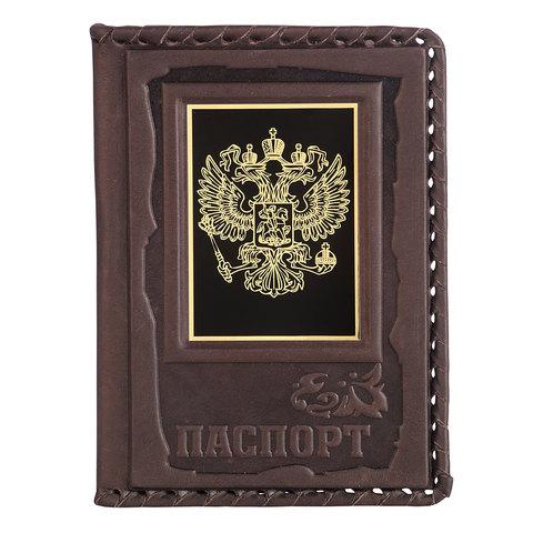 Обложка для паспорта «Герб» коричневая