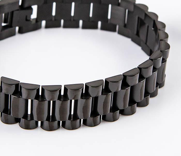 BM556 Широкий стальной браслет черного цвета фото 05